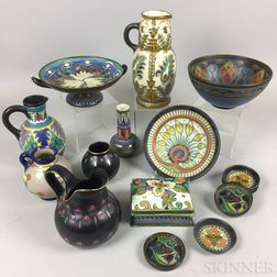 Sixteen Gouda Pottery Items