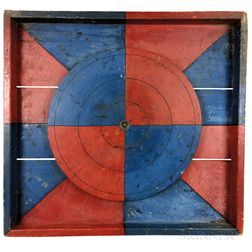 Red- and Blue-painted Carnival Game Wheel