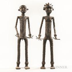 Two Burkina Faso-style Bronze Figures