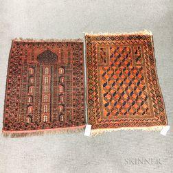 Baluch Prayer Rug and an Afghan Prayer Rug