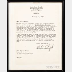 King, Martin Luther, Jr. (1929-1968) Typed Letter Signed, 12 January, 1959.