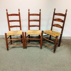 Three Red-painted Maple Side Chairs
