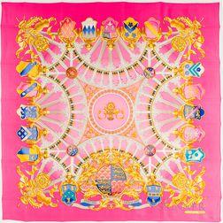 "Framed Hermes ""British Heraldry"" Pink Silk Scarf"