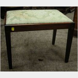 Louis XVI Style Upholstered Mahogany Footstool.