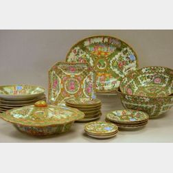 Twenty-eight Pieces of Chinese Export Rose Medallion Porcelain Tableware