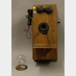 Oak Magneto Wall Telephone and a Swiss Pocket Watch