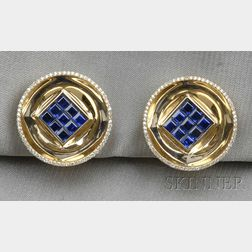 18kt Gold, Sapphire, and Diamond Earclips, Aletto Bros.