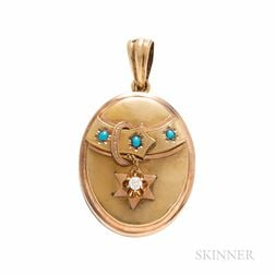 Antique 14kt Gold, Turquoise, and Diamond Locket