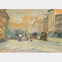 Arthur Clifton Goodwin (American, 1864-1929)      The Corner of Boylston and Arlington Streets, Boston
