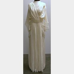 Vintage Ivory Chiffon Gown Attributed to Madame Grès