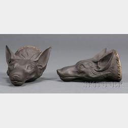 Pair of Wedgwood and Bentley Black Basalt Fox Head Stirrup Cups