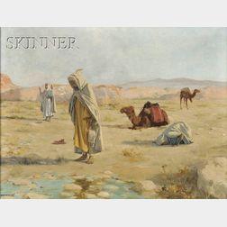 Robert Van Vorst Sewell  (American, 1860-1924)      Grateful Homage  /  Desert Landscape with Figures in Islamic Prayer