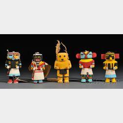 Five Polychrome Carved Wood Kachinas