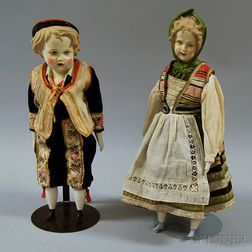 Pair of Mid-20th Century Continental Bisque Dolls