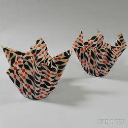 Pair of Molded Plastic Graphic Handkerchief Vases