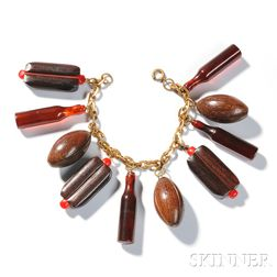 Bakelite Jewelry Football Charm Bracelet