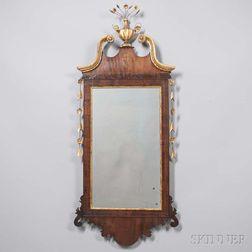 Inlaid Mahogany and Gilt-gesso Mirror