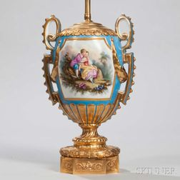 Sevres-style Porcelain and Gilt-bronze Lamp Base