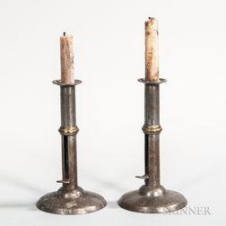Pair of Brass-banded Iron Hogscraper Candlesticks