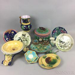 Seventeen Majolica Ceramic Items