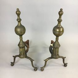 Pair of Brass and Iron Belted Ball-top Andirons