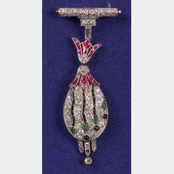 Art Deco Platinum, Diamond, Onyx and Gem-set Pendant Watch