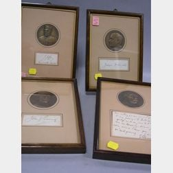 Four Signatures Framed with Franklin Mint Medals
