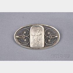 Arts & Crafts Sterling Silver Brooch, Bezalel, Jerusalem