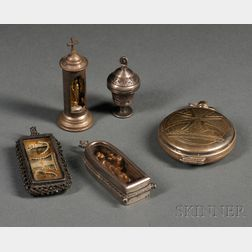 Five Silver Reliquary and Host Boxes