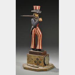 Polychrome-painted Folk-carved Wood Uncle Sam Figure