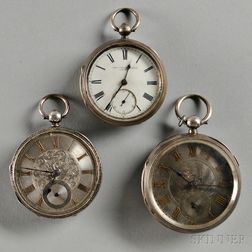 Three English Silver Fusee Lever Watches