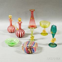 Eleven Pieces of Venetian Glass