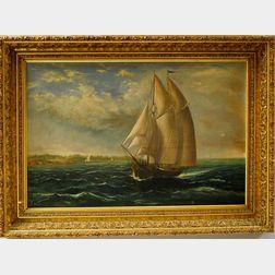 American School, 19th Century      Vessel Sailing Just Offshore.