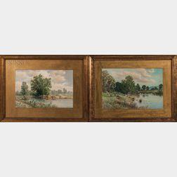 C. Myron Clark (Massachusetts, 1858-1925)    Two Works: Pond View, Summer