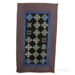 Amish Pieced and Appliqued Cotton Nine-patch Quilt.     Estimate $100-150