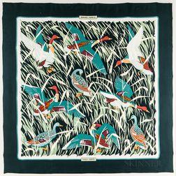 "Framed Hermes ""Cols. Vert"" Green Dark Silk Scarf"