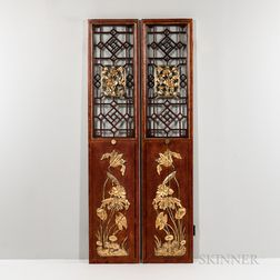 Two Chinese Red-lacquered Doors