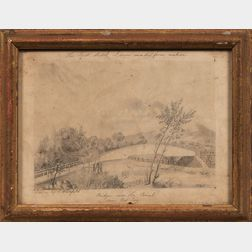 Edwin Whitefield (American, 1816-1892)      Two Framed Works on Paper: Bridge over the Canal near West Troy