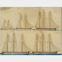 Jacob Henderson (American, b. 1800)  Portrait of Five Sailing Vessels.