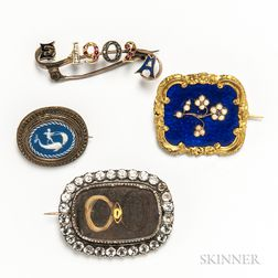Four Antique Paste and Enamel Brooches