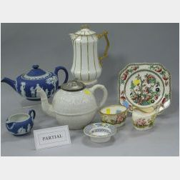 Thirty-two Pieces of Assorted English Pottery and Porcelain Tableware