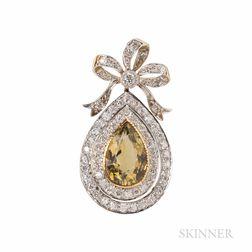 Edwardian Tourmaline and Diamond Pendant/Brooch