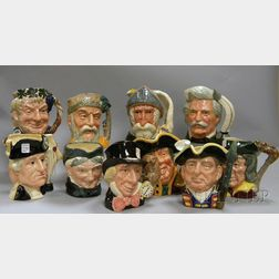 Ten Assorted Large Royal Doulton Ceramic Character Jugs