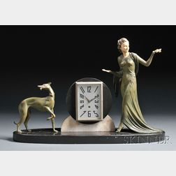 Patinated Spelter Figural Mantel Clock