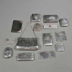 Twelve English Sterling Silver Personal Items