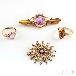 Four Victorian Gold Gem-set Jewelry Items
