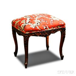 Louis XV-style Carved Fruitwood Upholstered Stool