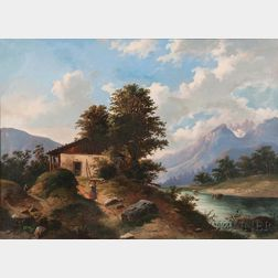 Eastern European School, 19th Century      Cottage with View to the Mountains