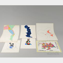 Richard Gangel or Attributed to (American, 1918-2002)      Approximately Twenty-four Works on Paper