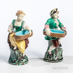 Pair of Minton Majolica Figures
